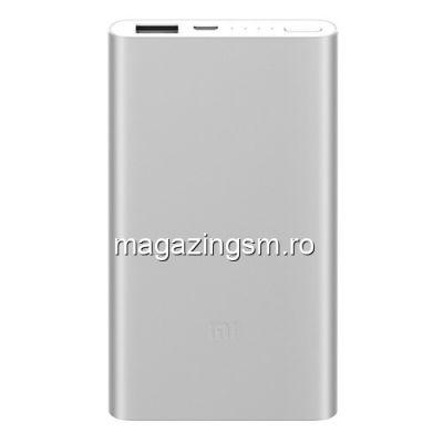 Acumulator Extern iPhone iPad Samsung Huawei Xiaomi Power Bank 5000mAh Argintiu