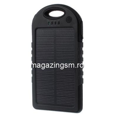 Acumulator Extern Sony Samsung Huawei iPhone LG Power Bank 5000mAh Cu Incarcare Energie Solara Negru