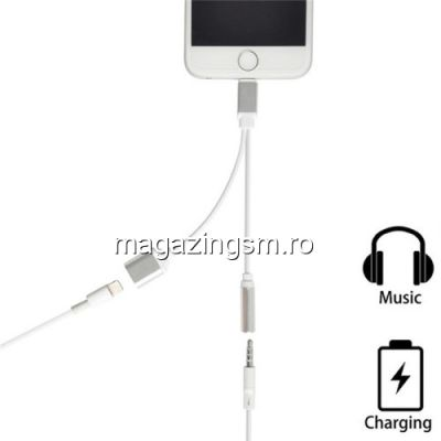 Adaptor iPhone 2 in 1 Mufa Incarcare Lightning Si Casti Audio Jack