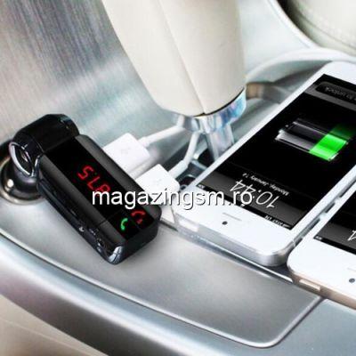Adaptor Modulator FM Bluetooth cu functie FM, USB, Display LED