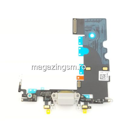 Banda Flex Conector Incarcare Si Microfon iPhone 8 Alba