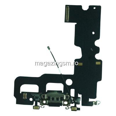 Banda Flex Cu Conector Incarcare Microfon Si Antena Semnal iPhone 7 Originala Neagra