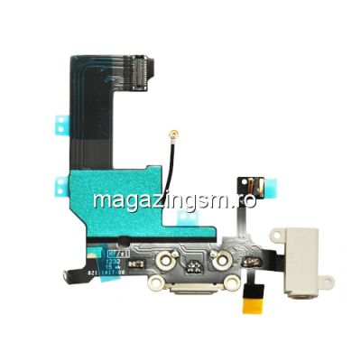 Banda Flex iPhone 5 Mufa Incarcare Cu Microfon Si Jack Audio Alb Originala