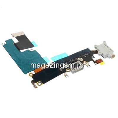 Banda Flex iPhone 6 Plus Cu Conector Incarcare Microfon si Jack Audio Alba Originala