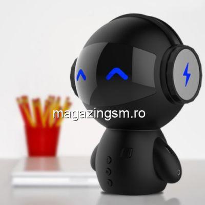Boxa Portabila Wireless Bluetooth Cu Acumulator Extern Power Bank Robot Negru