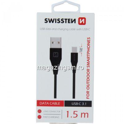 Cablu Date Si Incarcare 1,5 m USB Type C 3,1 Samsung Huawei LG Asus Allview Negru