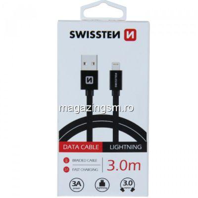 Cablu Date Si Incarcare Lightning Textil 3 m iPhone 5 6 7 8 X XS XR 11 11 Pro 11 Pro Max Negru