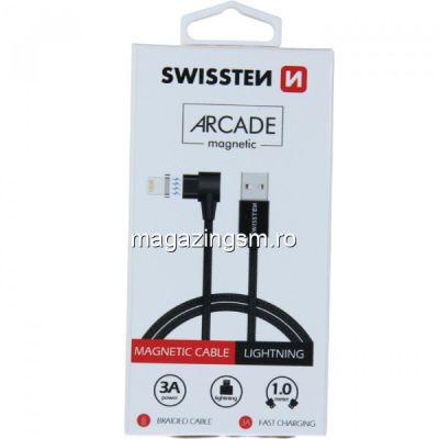 Cablu Date Si Incarcare Lightning Textil cu Adaptor Magnetic 1,2 m iPhone 5 6 7 8 X XS XR 11 11 Pro 11 Pro Max Negru