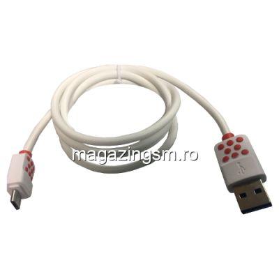 Cablu Date Si Incarcare Micro USB Asus Zenfone 3 Max Alb Cu Buline