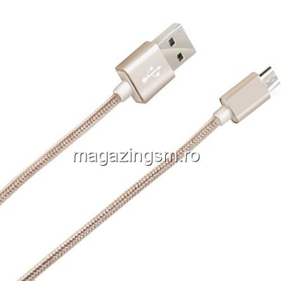 Cablu Date Si Incarcare Micro USB Allview X3 Soul mini Textil Auriu