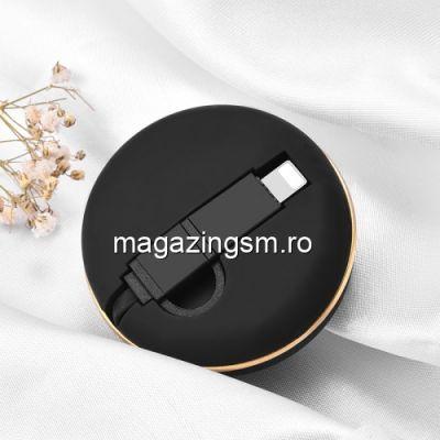 Cablu Date Si Incarcare Retractabil 2 in 1 Lightning si MicroUSB Negru