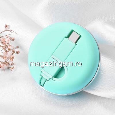 Cablu Date Si Incarcare Retractabil 2 in 1 Type C si MicroUSB Macaron Verde