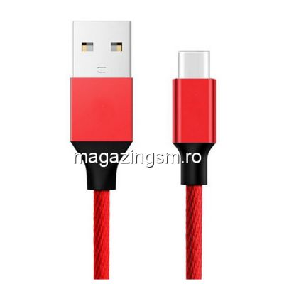 Cablu Date Si Incarcare USB Type C Samsung Huawei Allview Xiaomi Textil Rosu