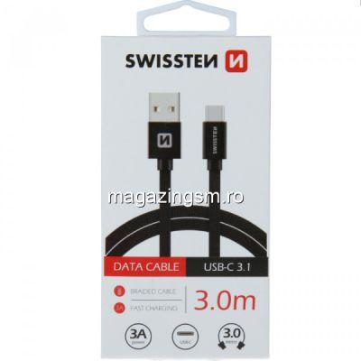 Cablu Date Si Incarcare USB Type C Textil 3 m Samsung Huawei LG Asus Allview Negru