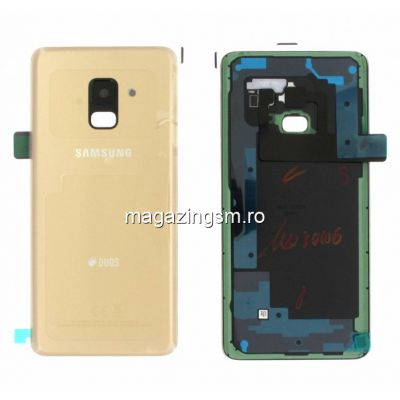 Capac Baterie Samsung Galaxy A8 2018 A530 Gold Original Complet cu Ornamente