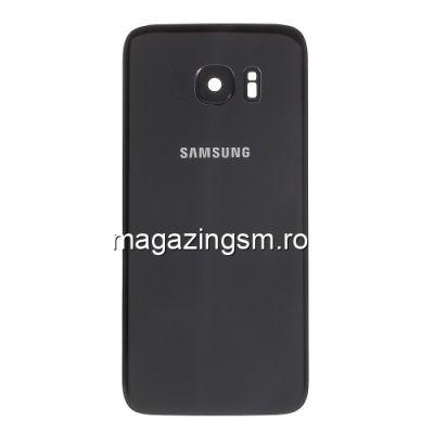 Capac Baterie Spate Samsung Galaxy S7 edge G935 Cu Ornament Camera Si Adeziv Sticker Negru