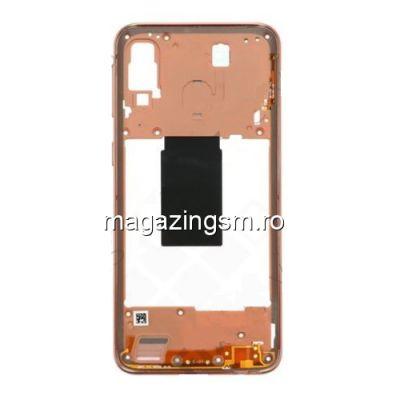Carcasa Corp Mijloc Cu Butoare On / Off Samsung Galaxy A40 A405 Corai