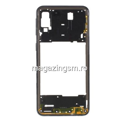Carcasa Corp Mijloc Cu Butoare On / Off Samsung Galaxy A40 A405 Neagra