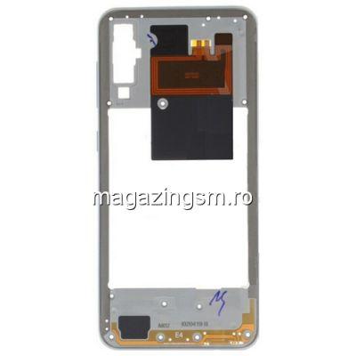 Carcasa Corp Mijloc Cu Butoare On / Off Samsung Galaxy A50 A505 Alba
