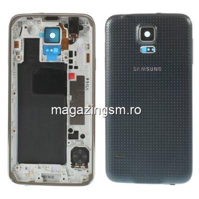Carcasa Corp Mijloc Samsung Galaxy S5 G900 Cu Capac Baterie Spate Gri