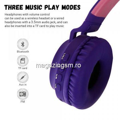 Casti audio copii cu urechiuse luminoase, Mov inchis