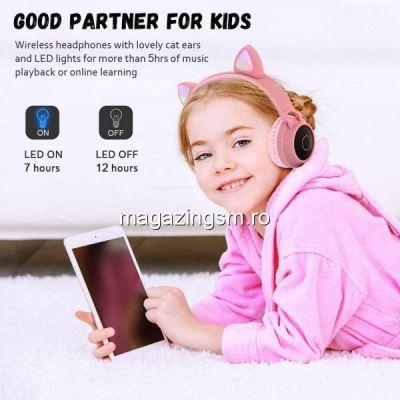 Casti audio copii cu urechiuse luminoase, Roz