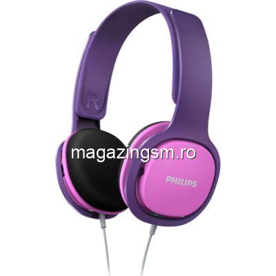 Casti audio pentru copii Philips SHK2000PK/00, design ergonomic, izolare fonica, supraauriculare, Roz/Mov