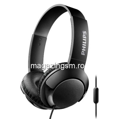 Casti audio Philips Bass+ SHL3175BK/00, microfon incorporat, pliere compacta, izolare fonica, lungime cablu 1,2m, Negru