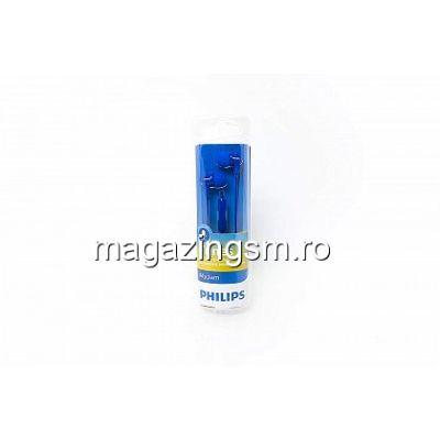 Casti audio Philips SHE3555BL/00, intraauriculare, microfon incorporat, izolare fonica, lungime cablu 1,2m, conector cromat, Albastru