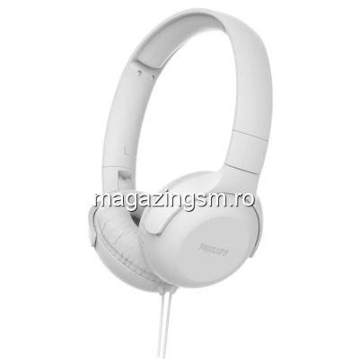 Casti audio Philips TAUH201WT/00, atasare pe ureche, lungime cablu 1,2m, microfon incorporat, design pliabil, Alb