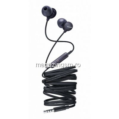 Casti audio Philips UpBeat SHE2405BK/00, intraauriculare, microfon incorporat, design ergonomic, izolare fonica, lungime cablu 1,2m, Negru