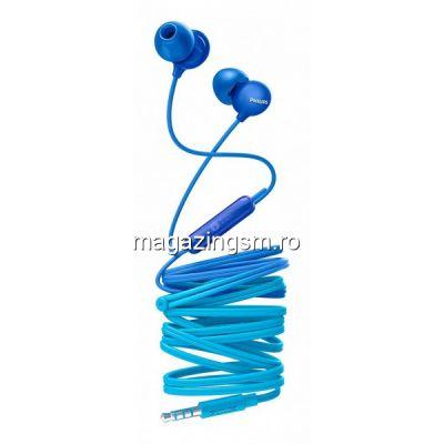 Casti audio Philips UpBeat SHE2405BL/00, intraauriculare, microfon incorporat, izolare fonica, lungime cablu 1,2m, Albastru