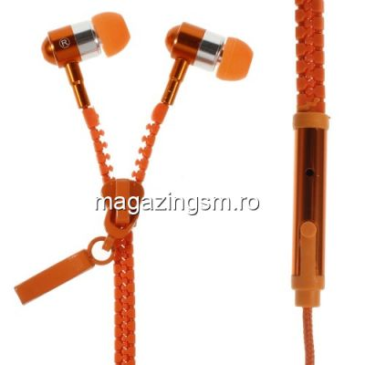Casti Handsfree Cu Microfon iPhone iPad Samsung Huawei Universale Portocalii