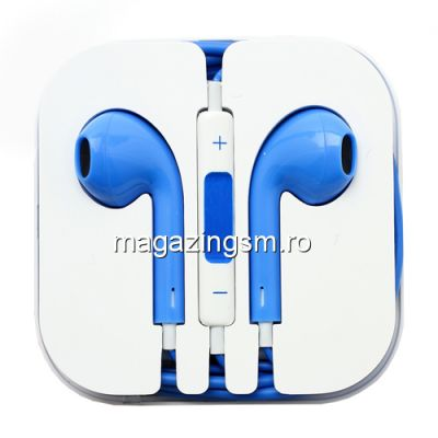 Casti Handsfree Cu Telecomanda Si Microfon iPhone 5s iPhone 5 Albastru