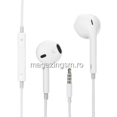 Casti Handsfree Earpods Cu Telecomanda Si Microfon iPhone 4 Alb In Blister
