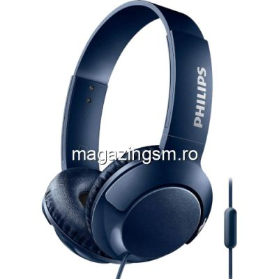 Casti on-ear cu microfon Philips SHL3075BL/00, Bass+, Albastru