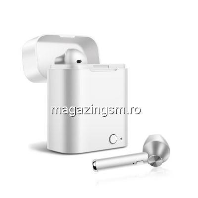 Casti Wireless Bluetooth Cu Carcasa Incarcare Samsung Huawei iPhone Nokia Argintii