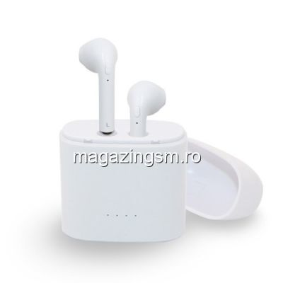 Casti Wireless Bluetooth cu Carcasa Incarcare Samsung iPhone Huawei LG Albe