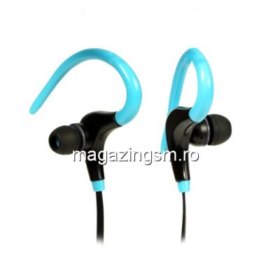 Casti Wireless Bluetooth Cu Microfon iPhone Samsung Huawei Sport Albastre