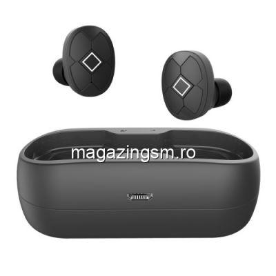 Casti Wireless Bluetooth Huawei Samsung iPhone Universale Cu Carcasa Incarcare Negre