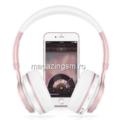Casti Wireless Bluetooth iPhone Samsung Albe / Roz