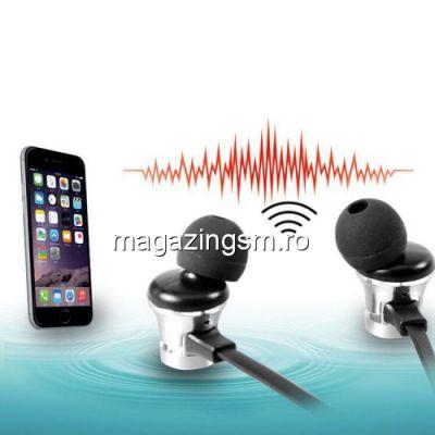 Casti Wireless Bluetooth iPhone Samsung Huawei Magnetice Argintii