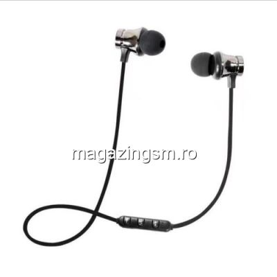 Casti Wireless Bluetooth iPhone Samsung Huawei Magnetice Gri