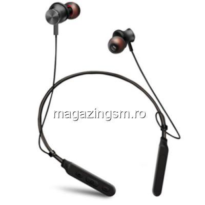 Casti Wireless Bluetooth iPhone Samsung Huawei Magnetice Sport Cu Suport Pentru Gat Negre