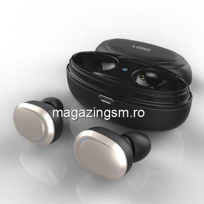 Casti Wireless Bluetooth Mini Samsung iPhone Huawei LG cu Carcasa Incarcare Argintii