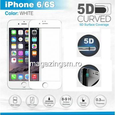 Folie Sticla iPhone 6 6s Acoperire Completa Alba - 10 Bucati