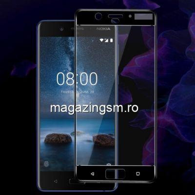 Folie Sticla Nokia 8 Protectie Display Acoperire Completa Neagra