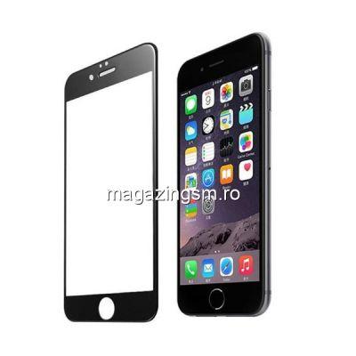 Geam Folie Sticla Protectie Display iPhone 8 Acoperire Completa Negru 4D