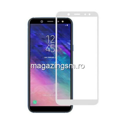 Geam Folie Sticla Protectie Display Samsung Galaxy A6 Plus 2018 Acoperire Completa Alb 4D