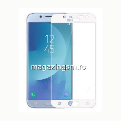 Geam Folie Sticla Protectie Display Samsung Galaxy J7 J730 2017 Acoperire Completa Alb 4D
